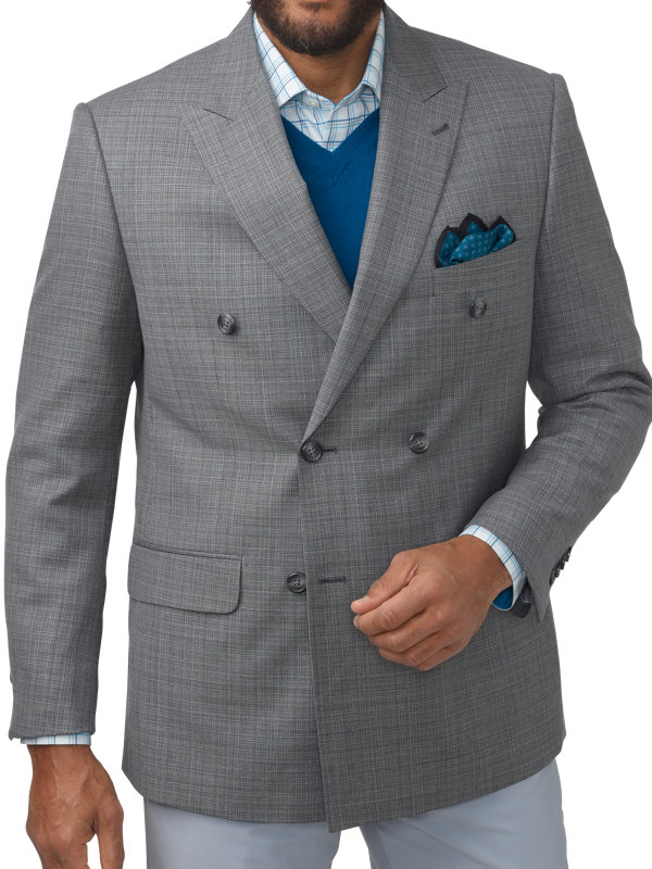 Tailored Fit Italian Wool Double Breasted Peak Lapel Sport Coat
