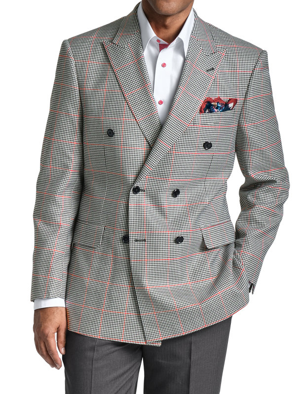 Silk and Wool Houndstooth Check Double Breasted Sport Coat