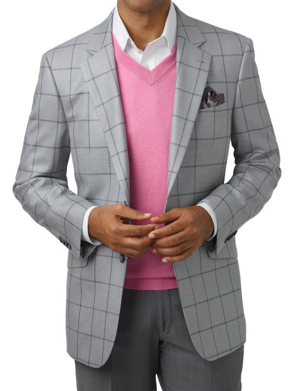 Classic Fit Silk & Wool Windowpane Peak Lapel Sport Coat