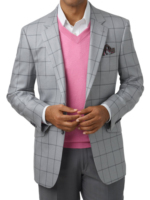 Classic Fit Silk & Wool Windowpane Peak Lapel Sport Coat