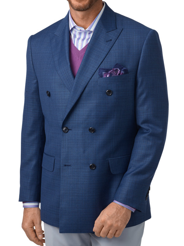 Tailored Fit Italian Wool Double Breasted Peak Lapel Sport Coat