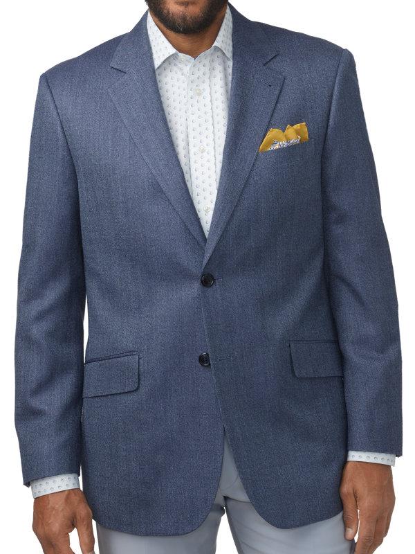 Classic Fit Silk & Wool Herringbone Notch Lapel Sport Coat