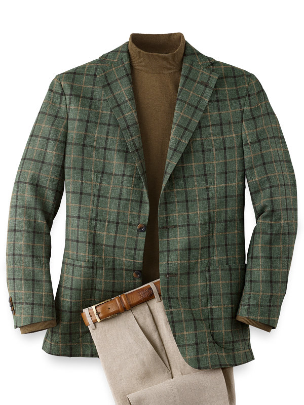 Wool Silk and Linen Windowpane Notch Lapel Sport Coat
