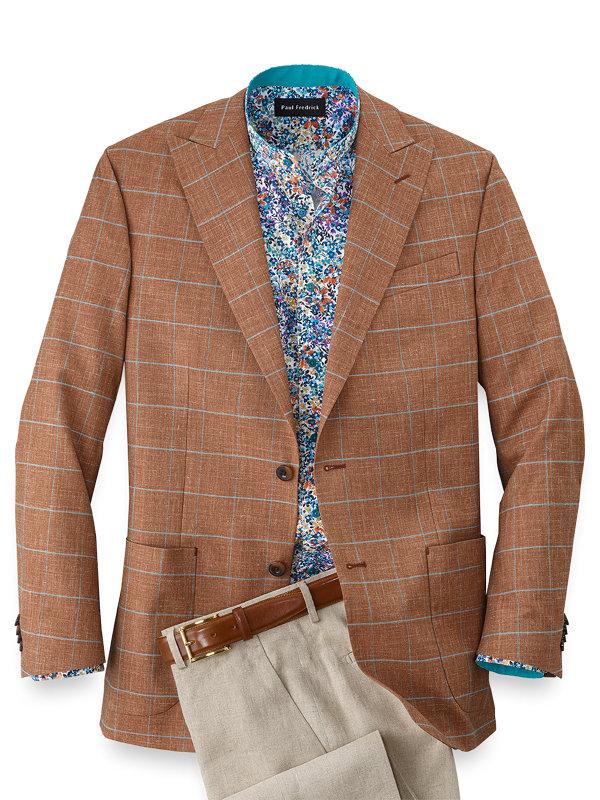 Wool Silk and Linen Windowpane Peak Lapel Sport Coat