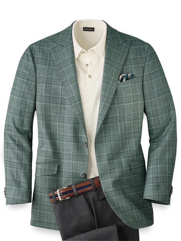 Wool Silk and Linen Plaid Peak Lapel Sport Coat