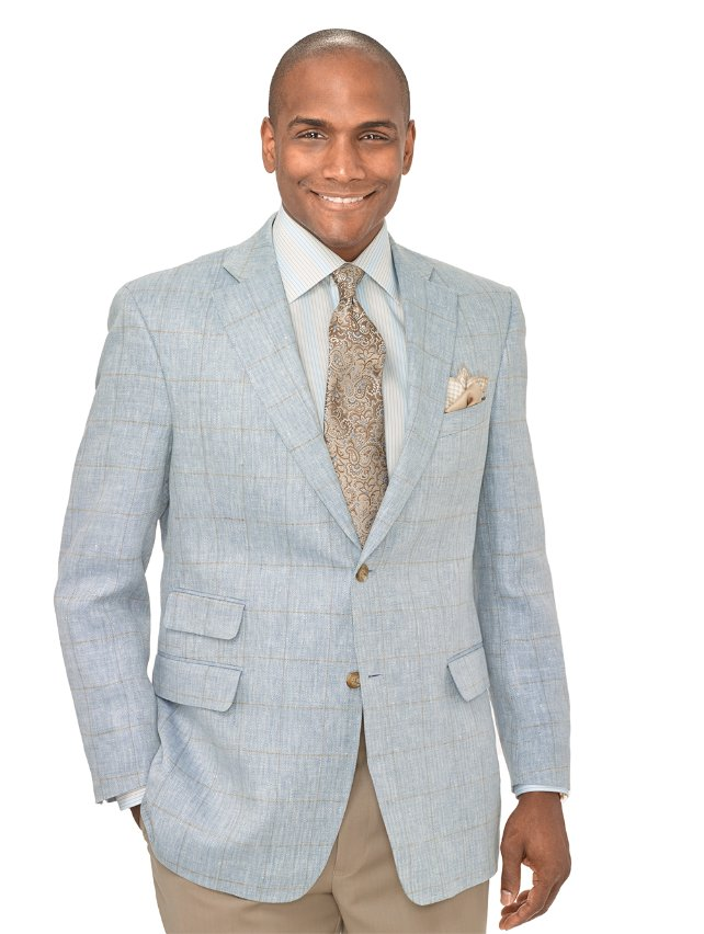 100% Linen Windowpane Two Button Notch Lapel Sport Coat