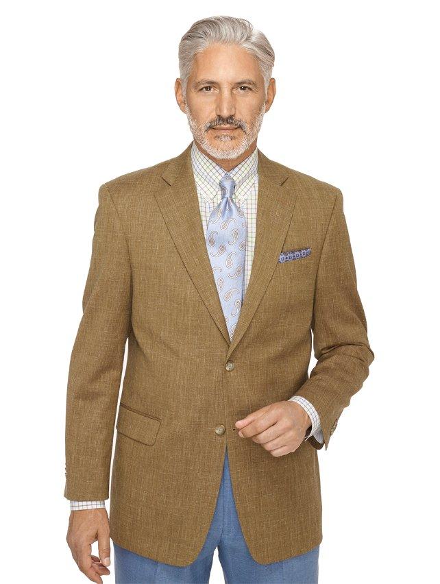 Wool, Silk and Linen Textured Two Button Notch Lapel Sport Coat