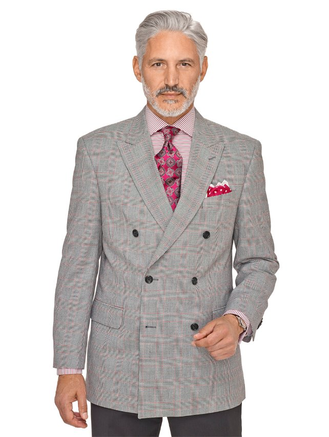 Wool and Cotton Glen Plaid Double Breasted Peak Lapel Sport Coat