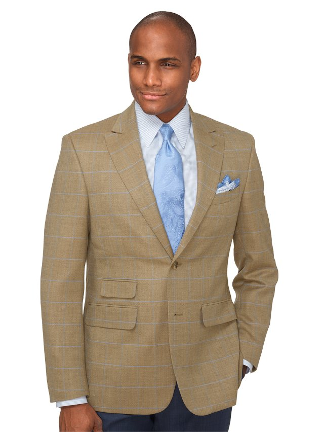 Wool and Linen Windowpane Sport Coat