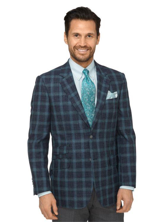 Wool, Silk & Linen Windowpane Sport Coat