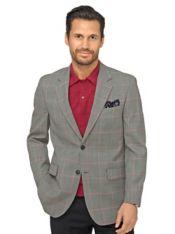 Super 100's Wool Windowpane Sport Coat