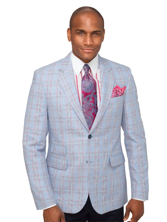 Cotton & Linen Plaid Sport Coat