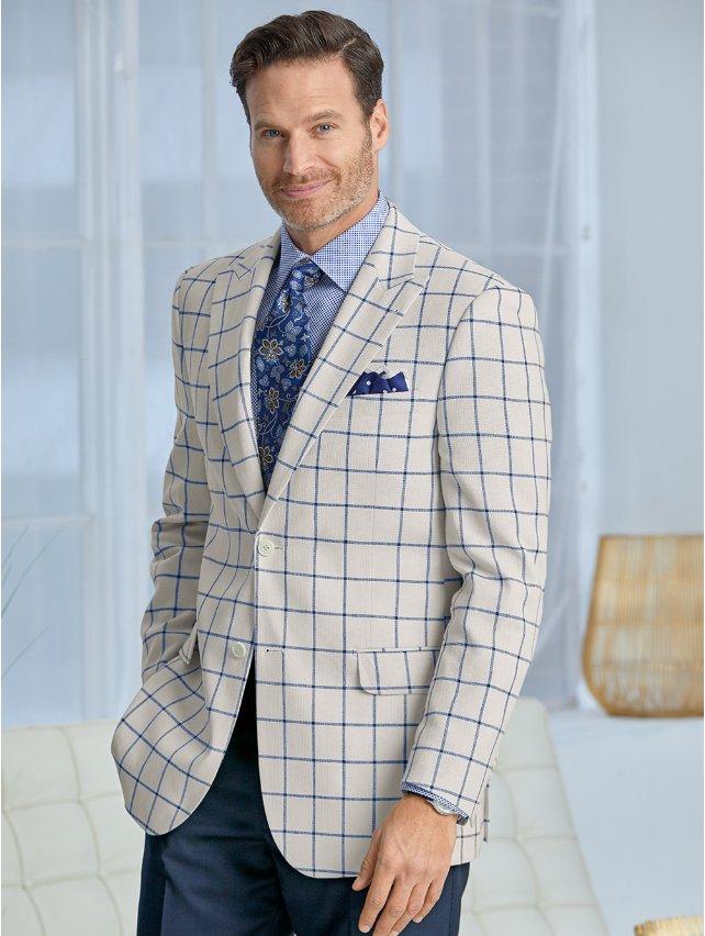 Linen & Cotton Windowpane Sport Coat
