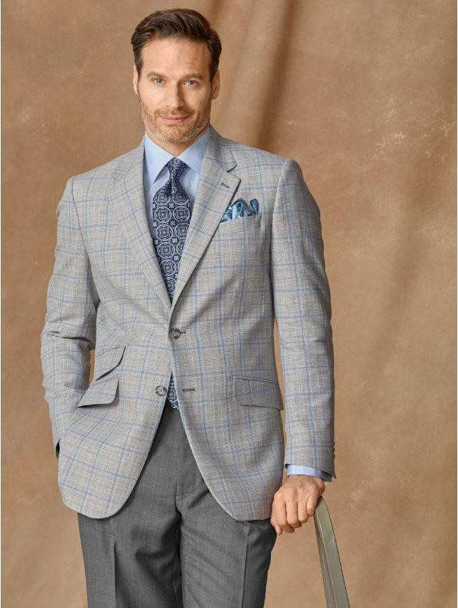 Wool & Linen Windowpane Sport Coat
