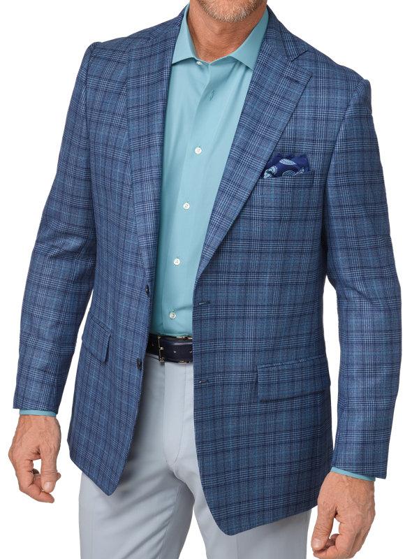 Tailored Fit Italian Wool Plaid Notch Lapel Sport Coat