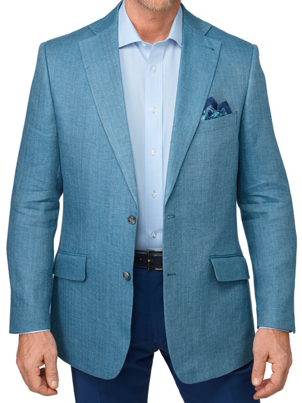 Tailored Fit Italian Linen Herringbone Notch Lapel Sport Coat