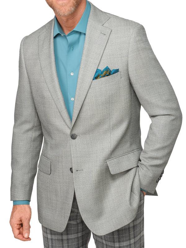 Tailored Fit Italian Wool Solid Notch Lapel Sport Coat