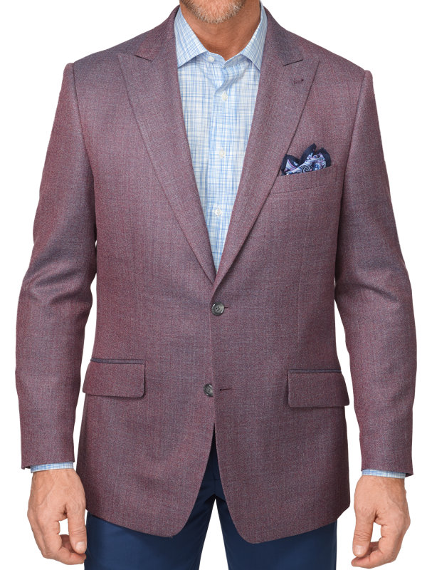 Classic Fit Silk & Wool Solid Peak Lapel Sport Coat