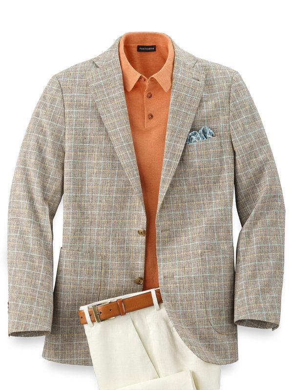 Cotton And Linen Plaid Notch Lapel Sport Coat