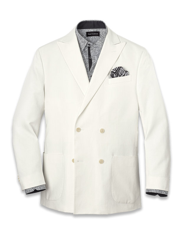 Cotton and Linen Herringbone Double Breasted Sport Coat