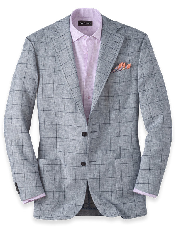 Linen And Cotton Windowpane Notch Lapel Sport Coat