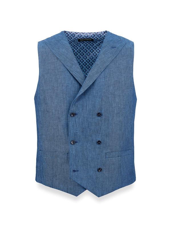 Linen Stripe Double Breasted Vest