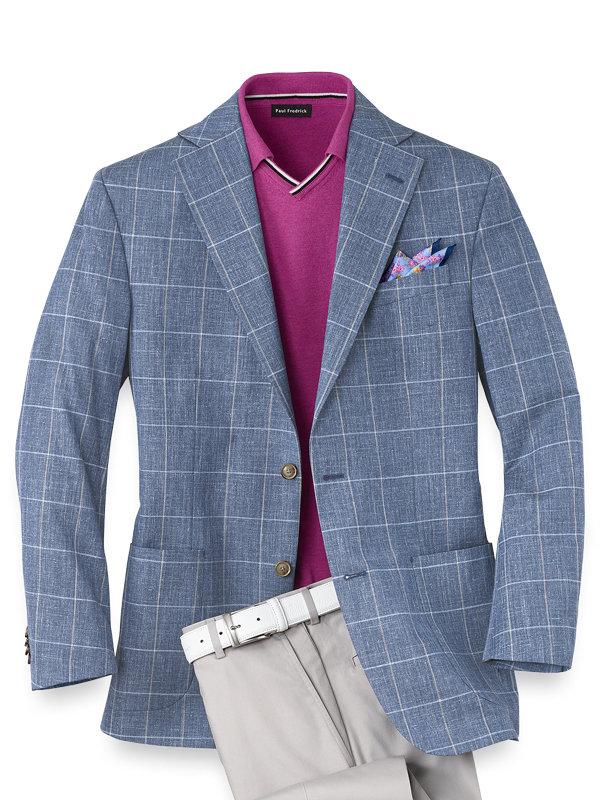 Silk And Wool Windowpane Notch Lapel Sport Coat