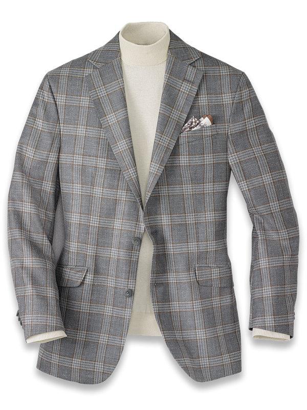 Wool Silk and Linen Solid Notch Lapel Sport Coat