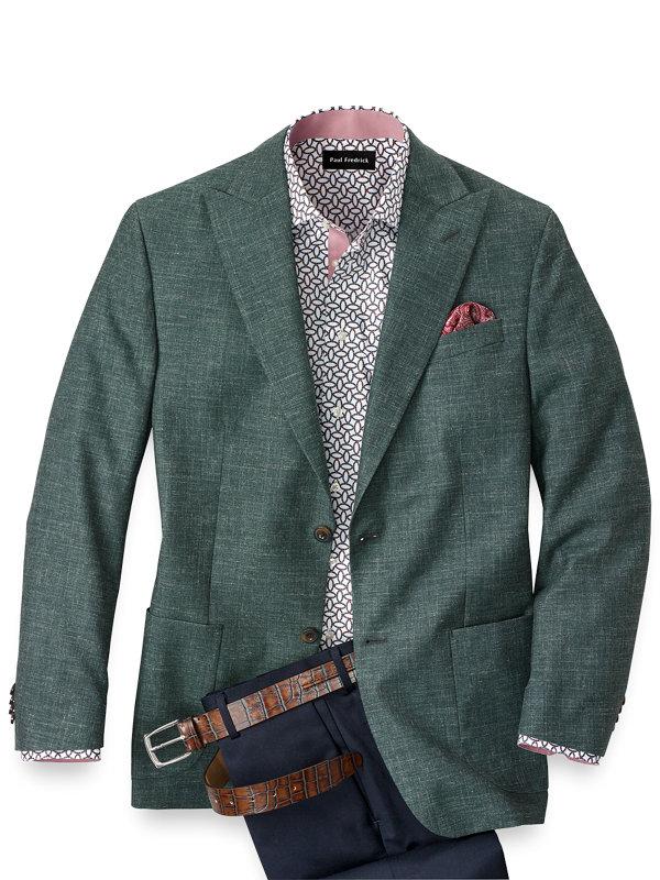 Wool Silk and Linen Solid Peak Lapel Sport Coat