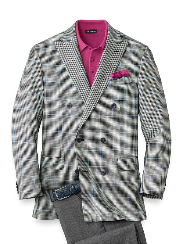 Silk and Wool Houndstooth Double Breasted Sport Coat