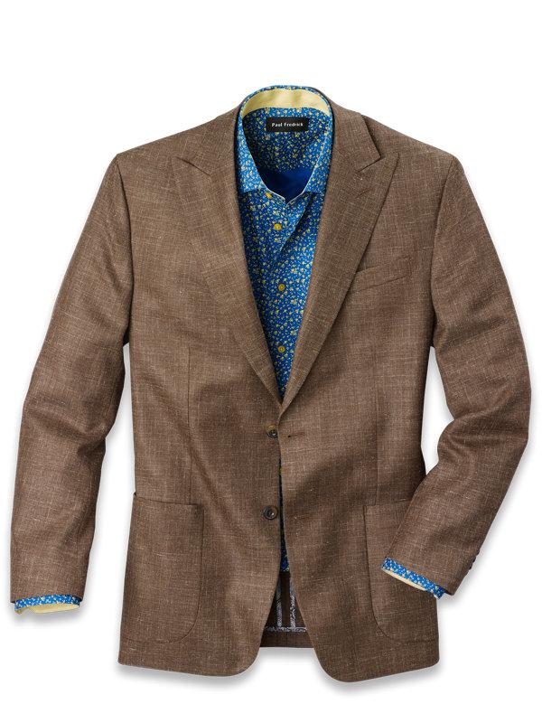 Wool Silk and Linen Notch Lapel Sport Coat