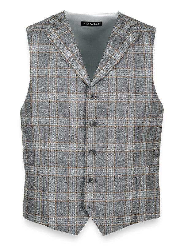 Wool Silk and Linen Notch Lapel Vest