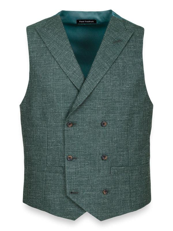 Wool Silk and Linen Peak Lapel Vest