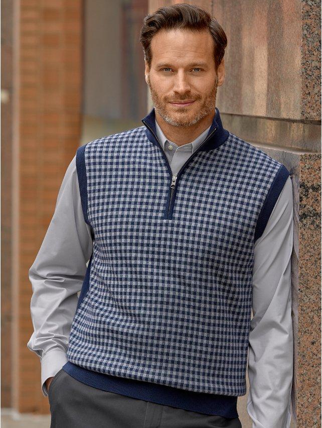 Merino Wool Check Zip Neck Vest