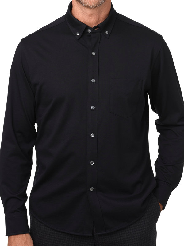 Cotton Jersey Long Sleeve Button Front Polo