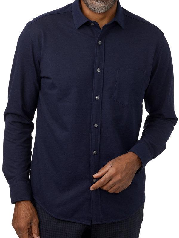 Cotton Pique Long Sleeve Knit Button Front Polo