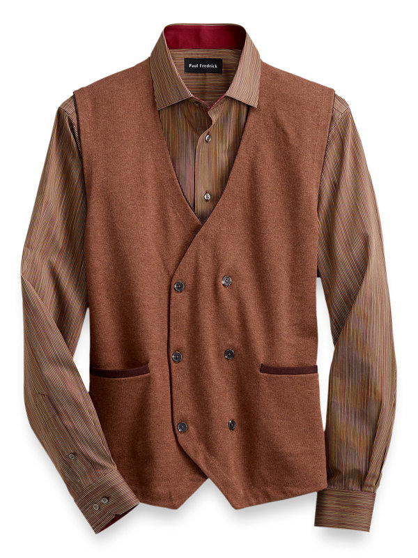 Cotton Double-Breasted Sweater Vest