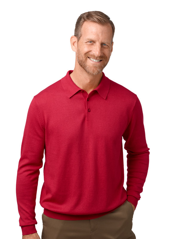 Silk, Cotton and Cashmere Long Sleeve Polo