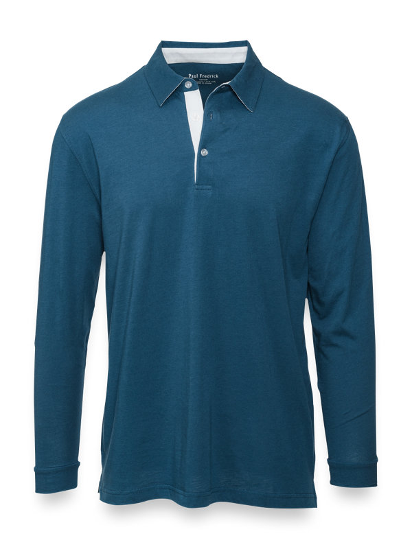 Cotton and Silk Long Sleeve Polo
