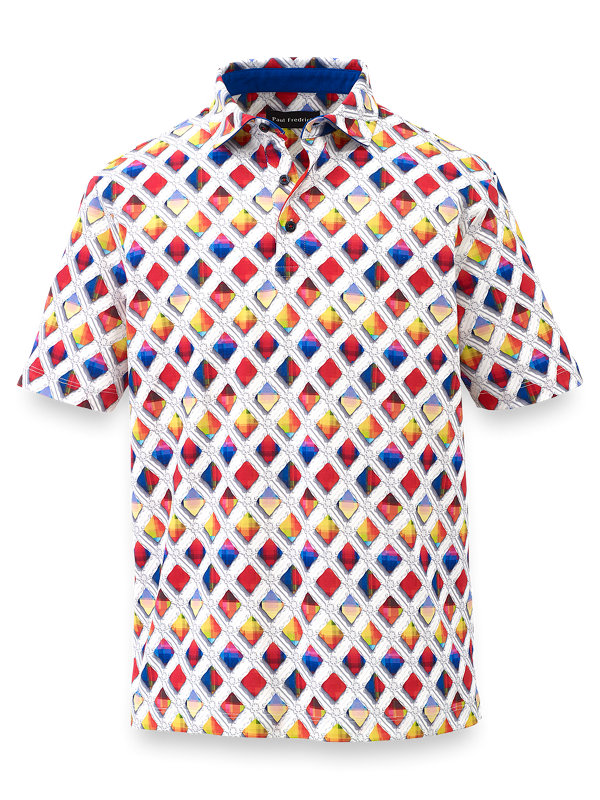 Printed Mercerized Cotton Polo With Tipping