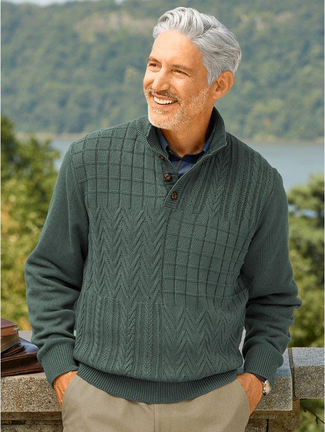 Cotton Cable Button Neck Sweater