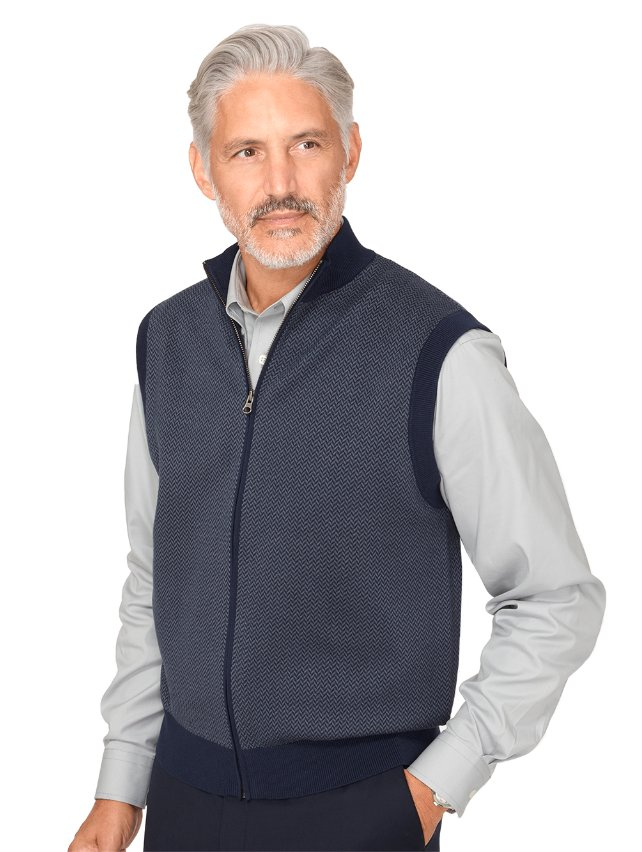 Cotton Herringbone Full Zip Front Vest