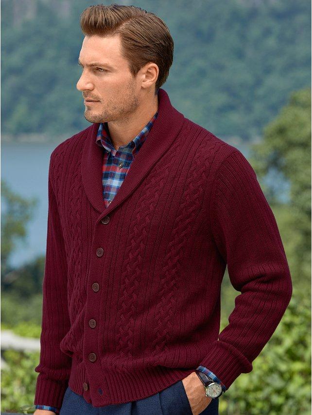 Cotton Cable Shawl Collar Cardigan Sweater