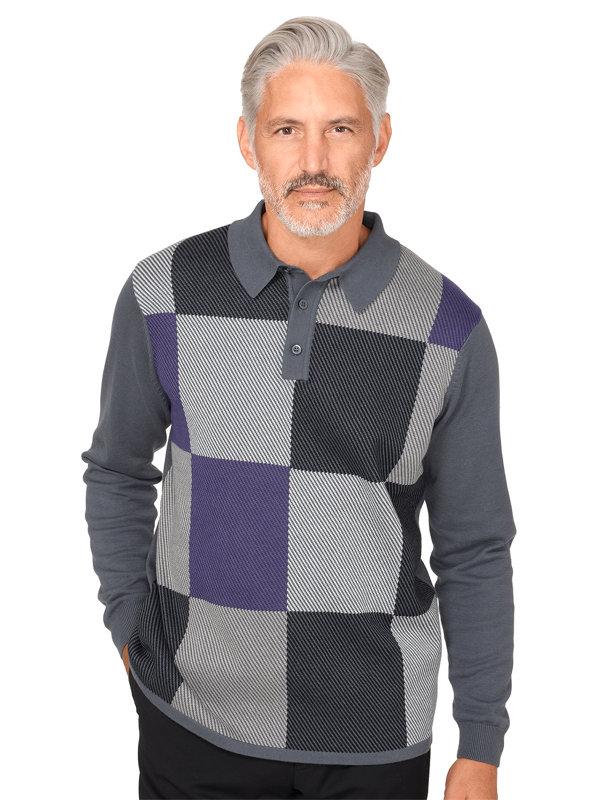 Cotton Colorblock Polo Collar Sweater