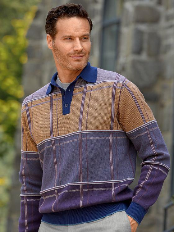 Cotton Birdseye Plaid Polo Collar Sweater
