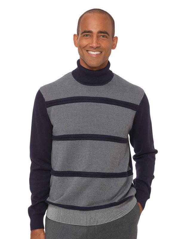 Cotton Birdseye Cable Stripe Turtleneck Sweater