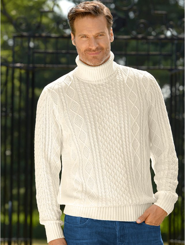 Cotton Cable Turtleneck Sweater