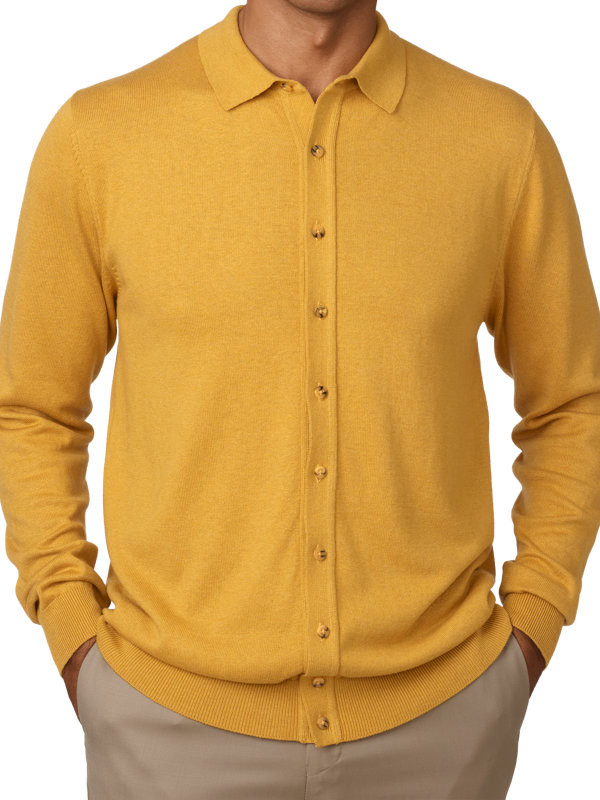 Silk, Cotton and Cashmere Button Front Polo
