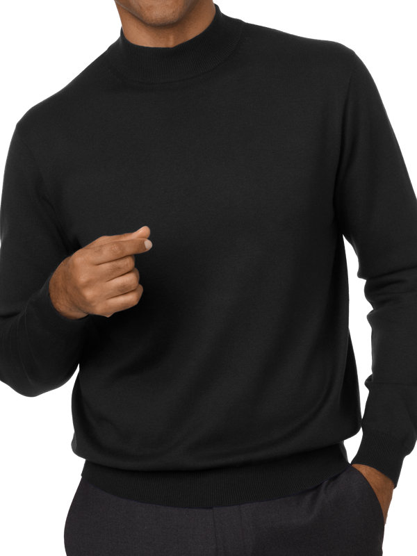 Silk, Cotton and Cashmere Mock Neck Sweater