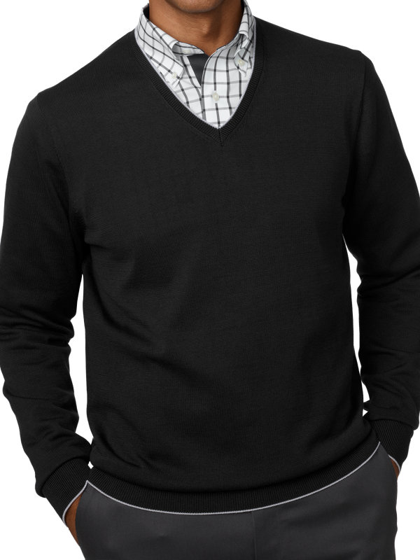 Supima Cotton V-Neck Sweater with Tipping